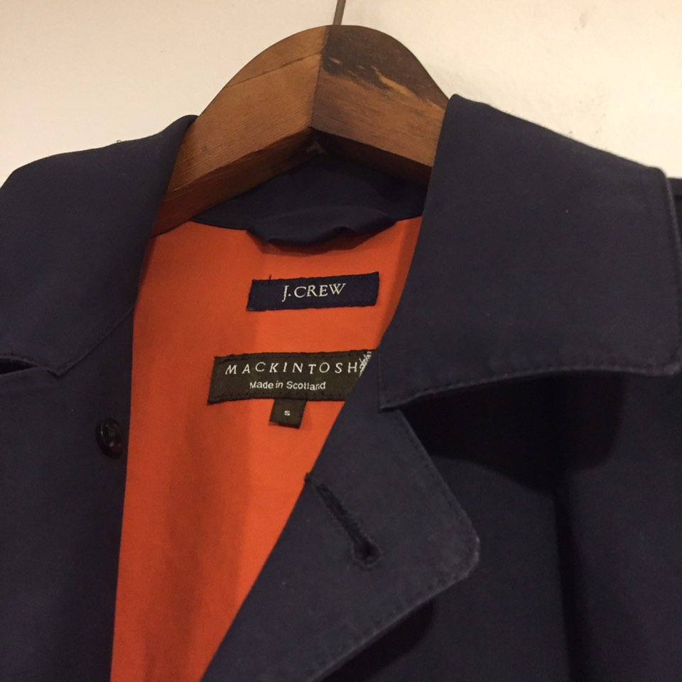 Jcrew X Mackintosh navy duncan coat S