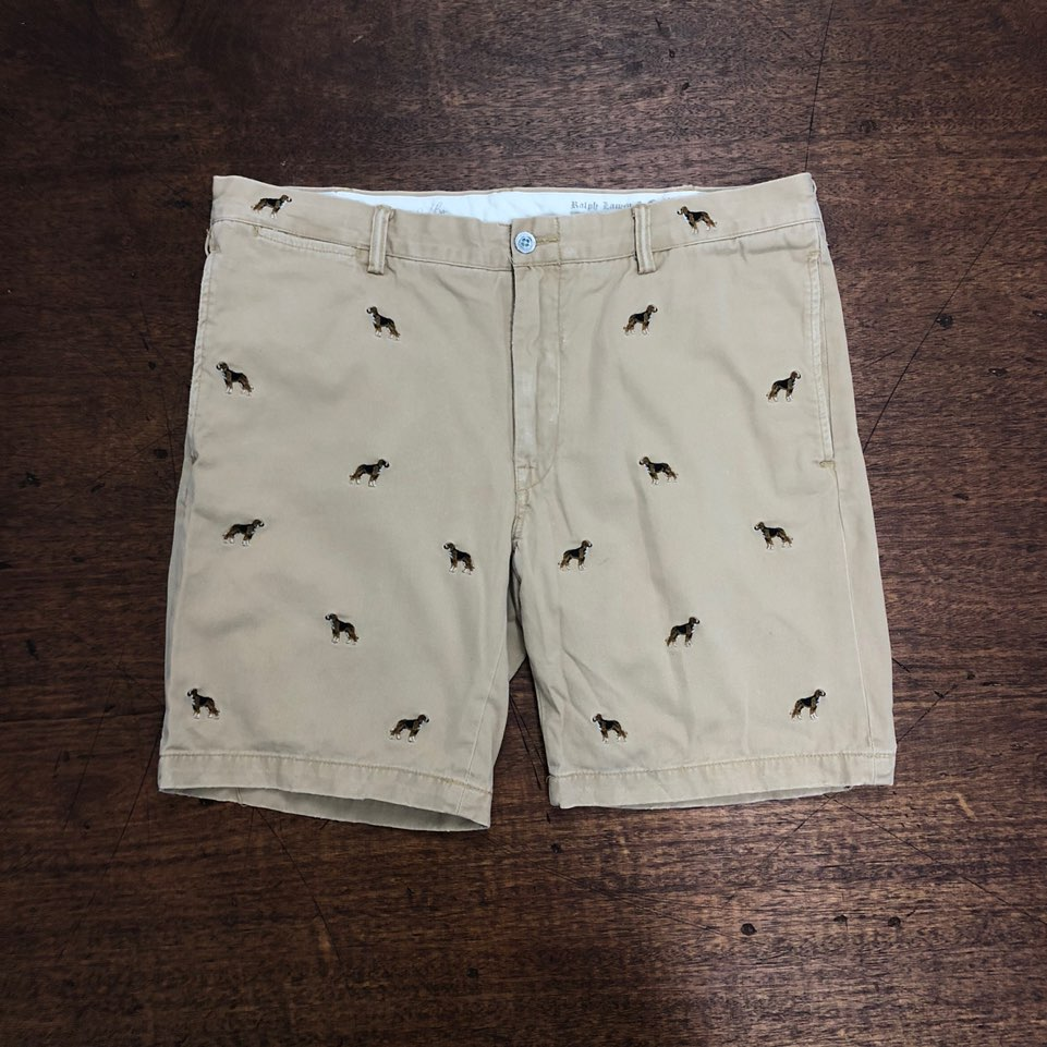 Polo ralph lauren beige dog embroidered shorts 36