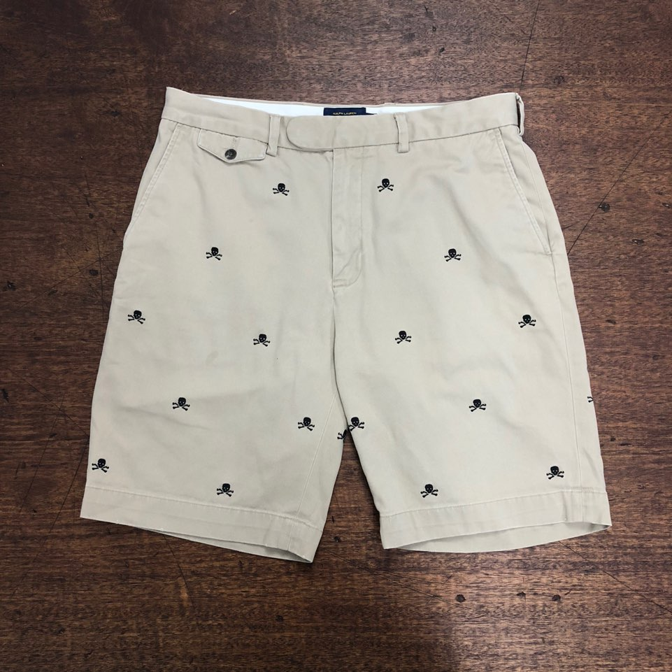 Rugby by ralph lauren skull embroidered chino shorts 33