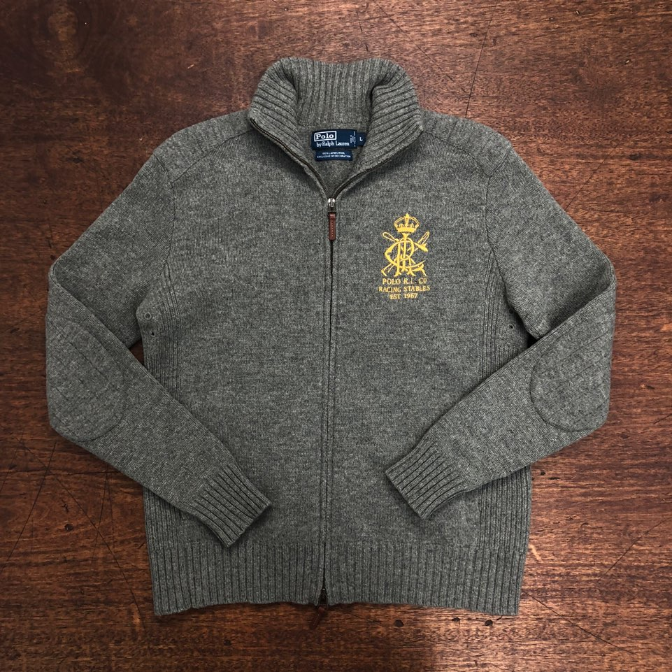 Polo ralph lauren gray embroidered lambswool zip up sweater L