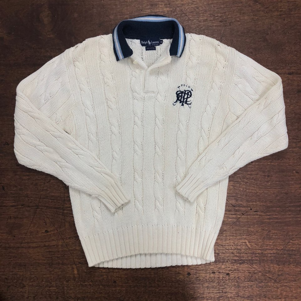 Polo ralph lauren embroidered cotton collar knit sweater 90(M)