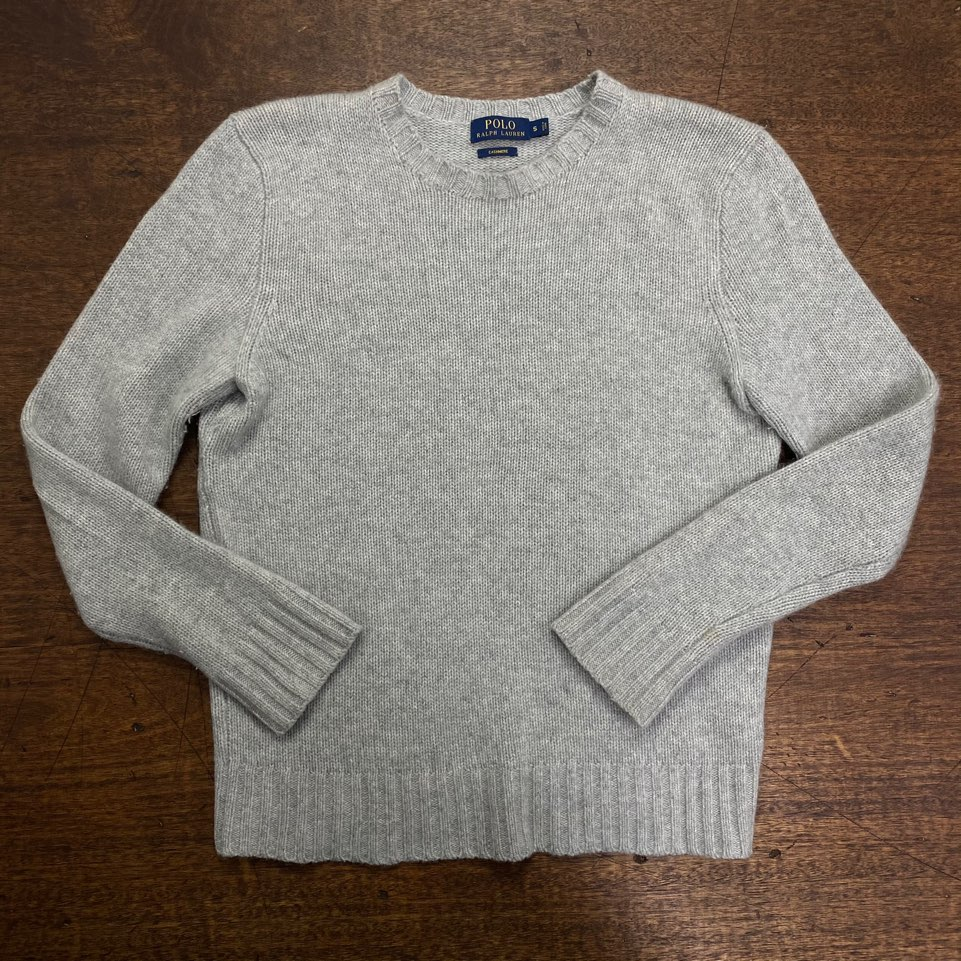 Polo ralph lauren gray cashmere crewneck sweater S