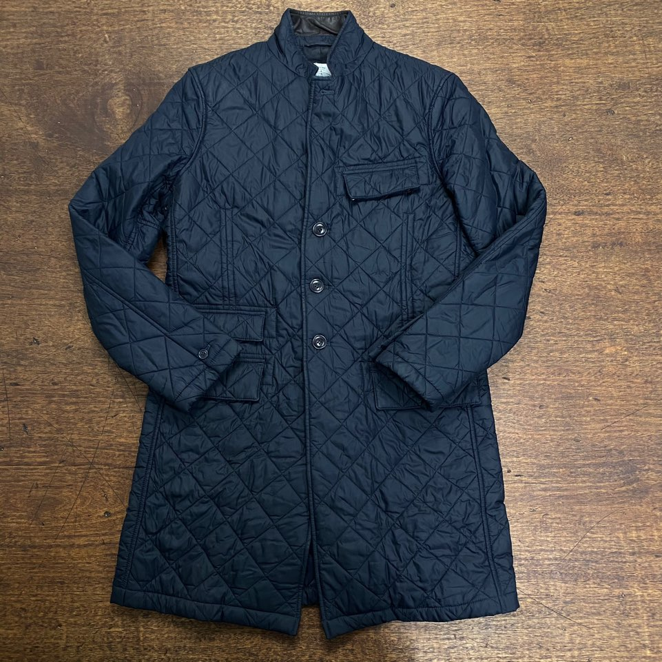 Barbour X Norton & Sons navy quilted coat S