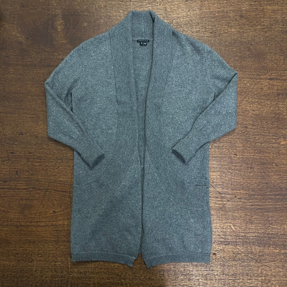 (여성용)Theory gray cashmere shawl collar long cardigan M