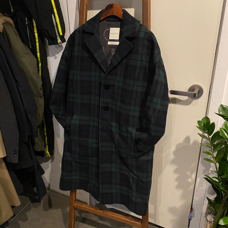 (여성용)Each x Other tartan wool single coat S#