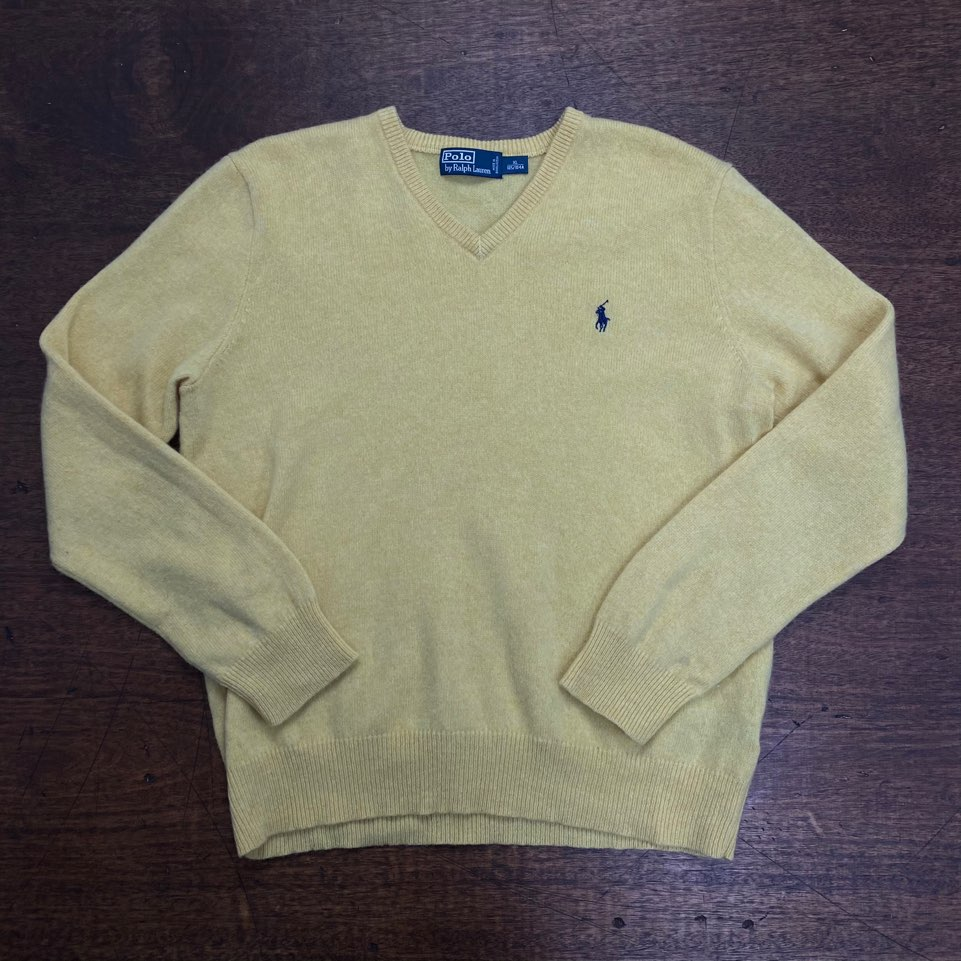 Polo ralph lauren yellow lambswool v-neck sweater XL