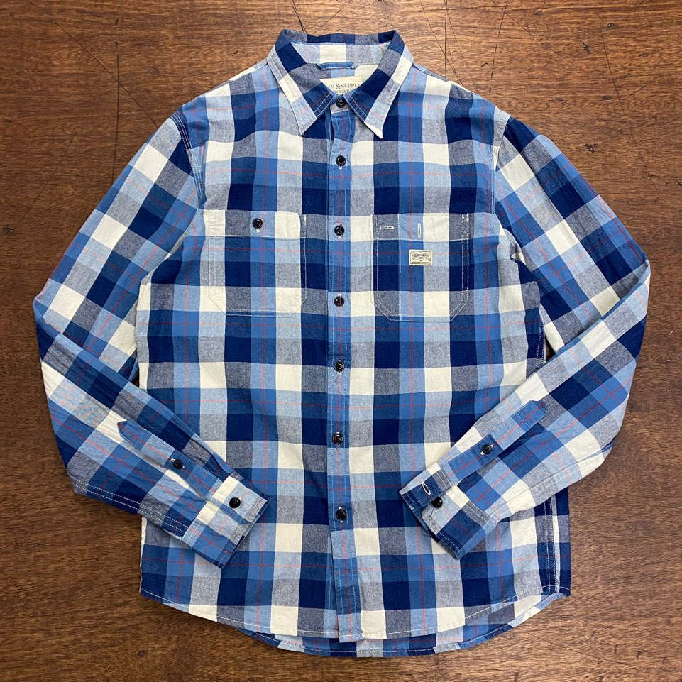 Denim & Supply blue check work shirt S