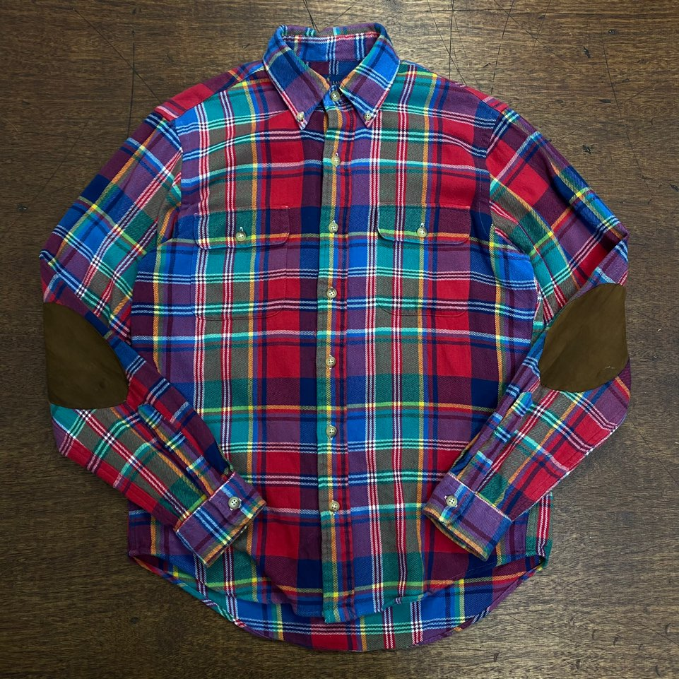 Polo ralph lauren check elbow patched shirt M