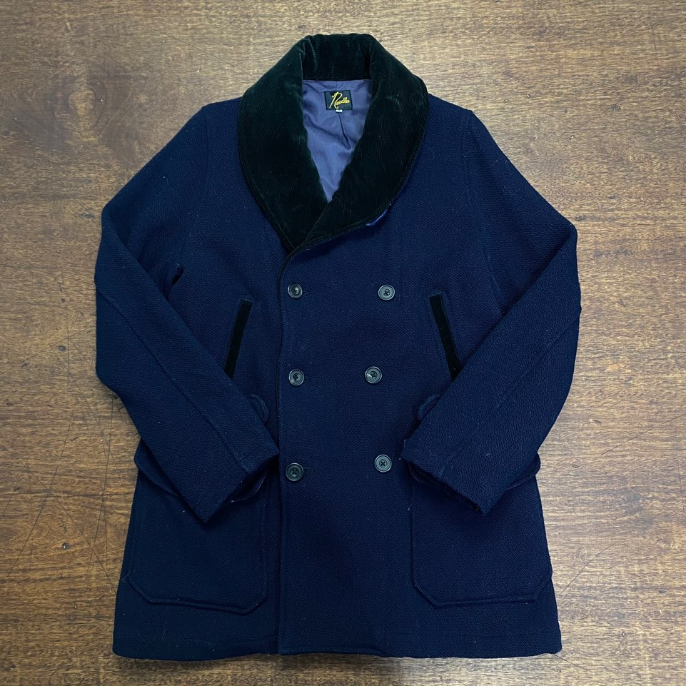 Needles navy wool double shwal collar coat S