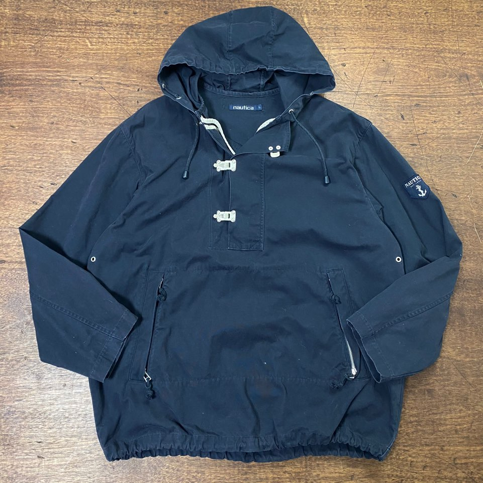 Nautica navy lobster clips anorak jacket L