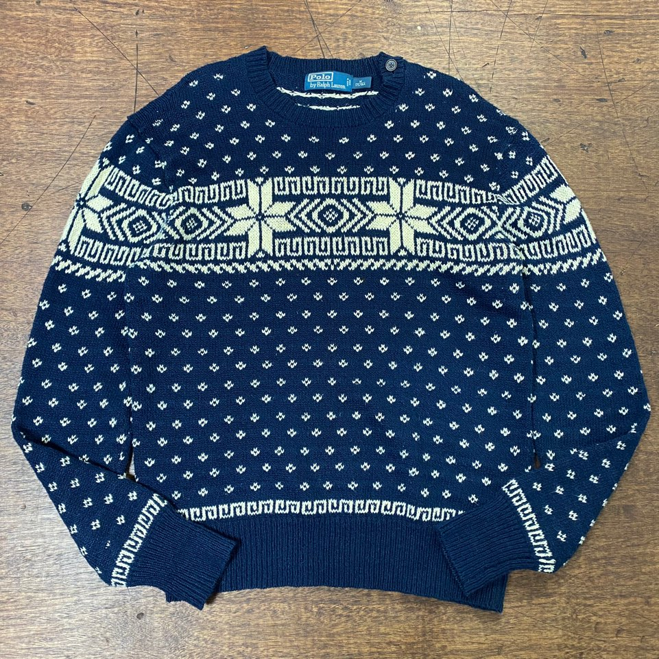 Polo ralph lauren snowflake navy crewneck sweater M